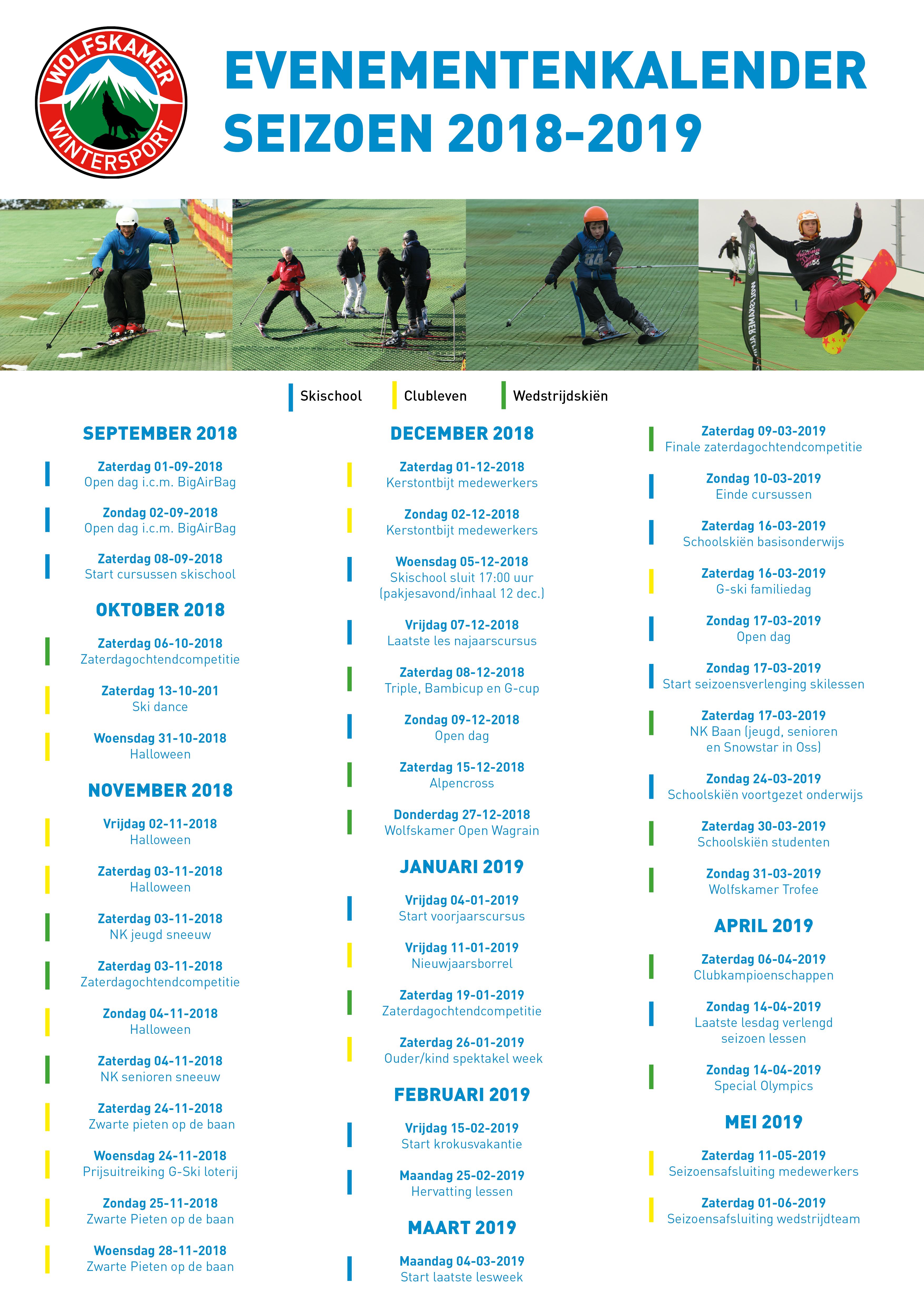 Wolfskamer Wintersport evenementenkalender seizoen 2018-2019