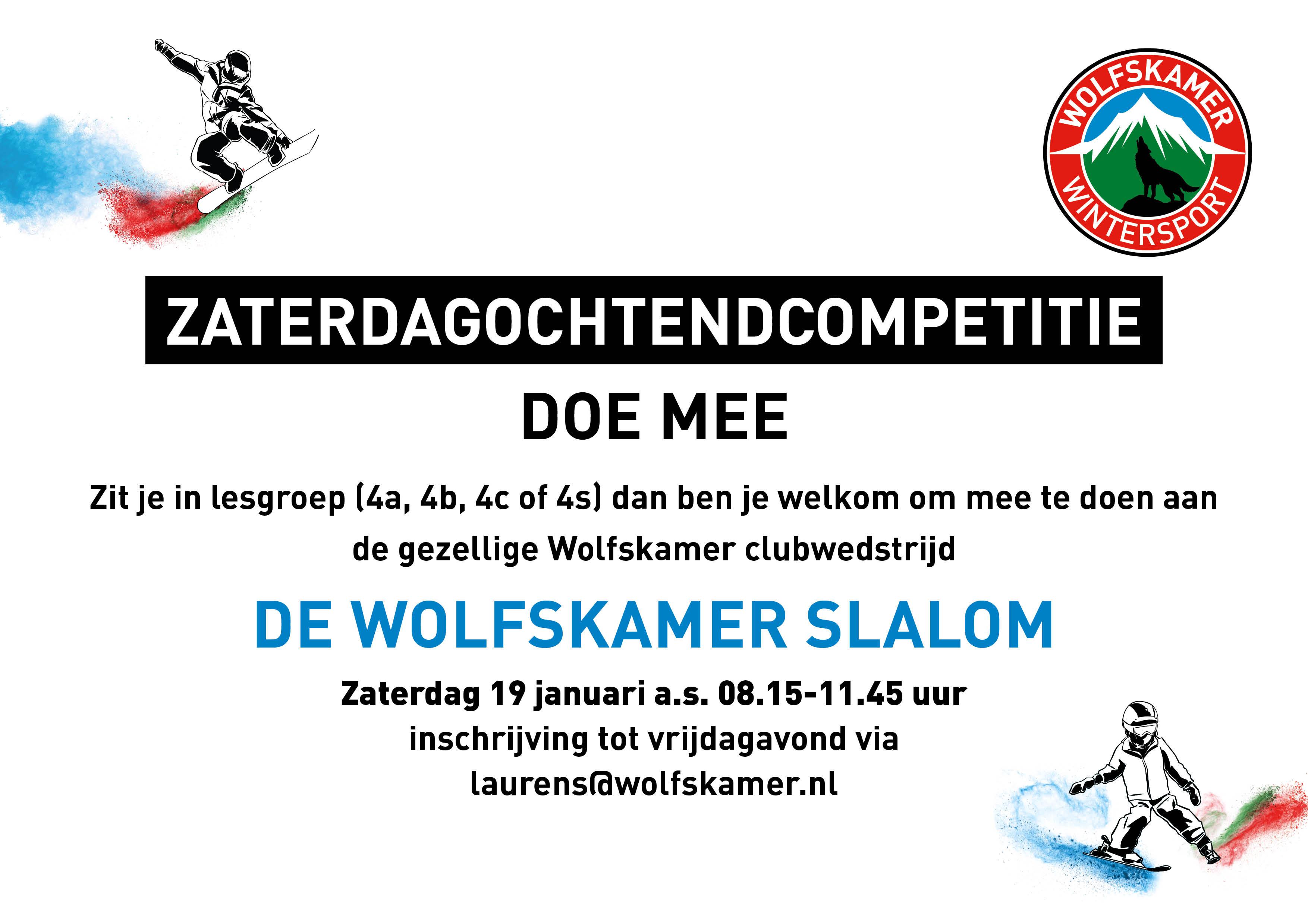 Schrijf je in en doe mee met de zaterdagochtendcompetitie, een leuke clubwedstrijd bij Wolfskamer Wintersport